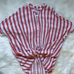Salmon & White Striped Button Up Short Sleeve Top
